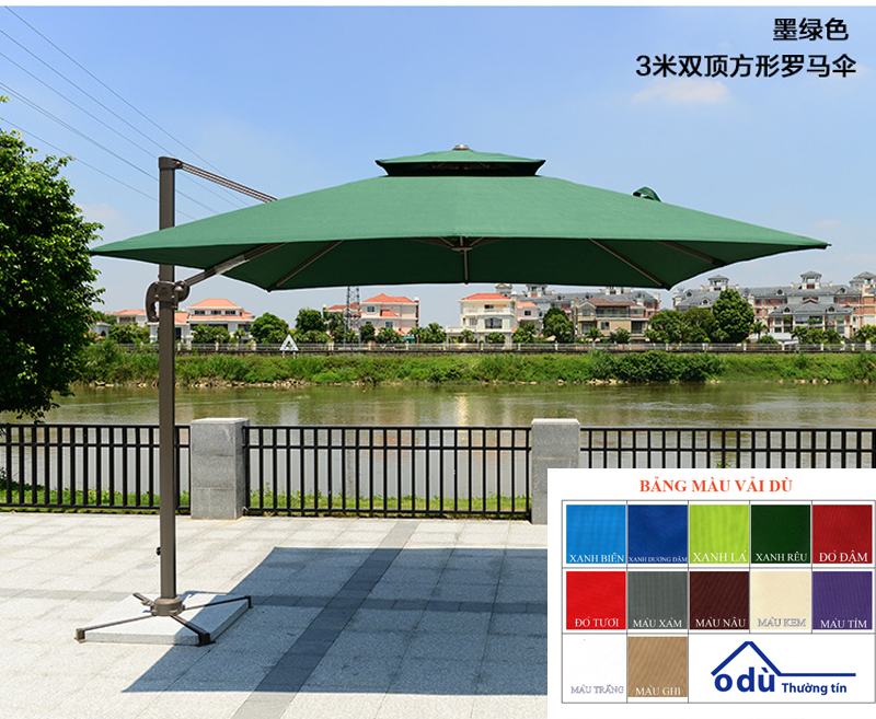 Ô cafe lệch tâm vuông cao cấp 3m nhập khẩu Trung Quốc màu xanh