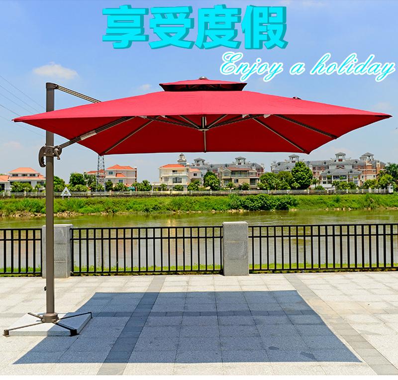 Ô cafe lệch tâm vuông cao cấp 3m nhập khẩu Trung Quốc màu đỏ