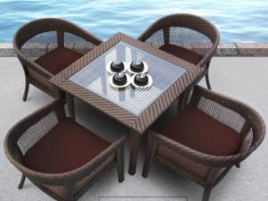 Bàn ghế cafe giả mây 10 – BGGM10
