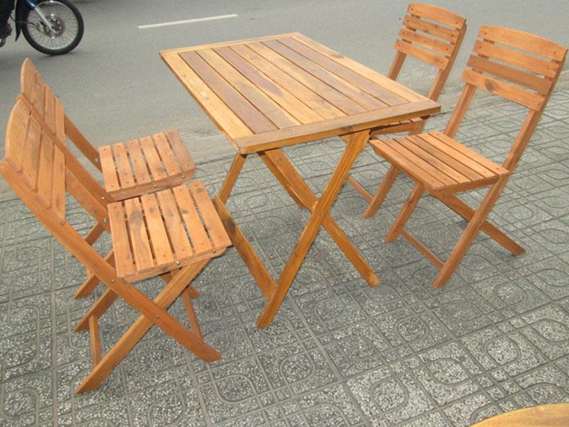 Bàn ghế cafe gỗ 02